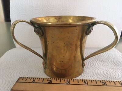 Imperial Russian 1st Artel Arts & Crafts Mixed metal hammered brass loving cup