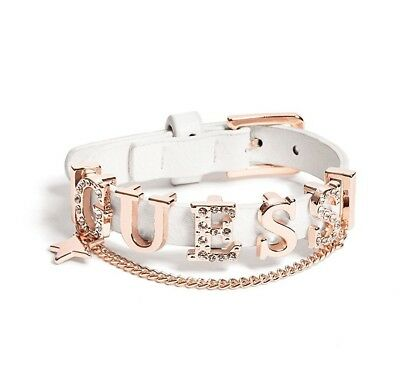 Genuine GUESS BRACELET Womens White Faux Leather Rose Gold & Rhinestone Logo NEW