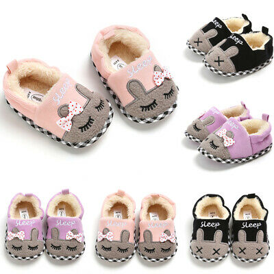 UK Infant Baby Girl Boy Toddler Anti-slip Winter Warm Slippers Cotton Crib Shoes