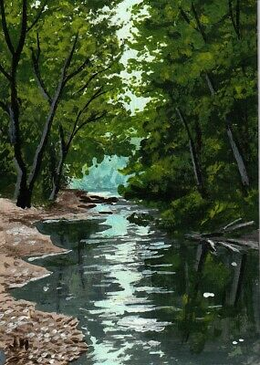 "aceo original acrylic painting ""Cool Summer Stream"" by J. Hutson"