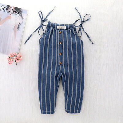 Kids Girls Strap Stripe Sleeveless Romper Jumpsuit Playsuit Outfits Clothes 1-5Y