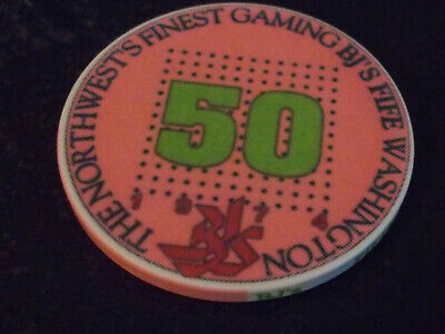 BJ'S FIFE CASINO $0.50 (50¢) casino gaming chip ~ Fife, WA