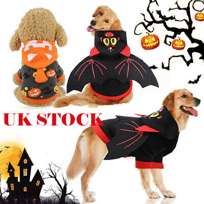 Pet Dog Halloween Costume Cosplay Jacket Puppy Bat Wings Punkpin Hoodie Coat UK