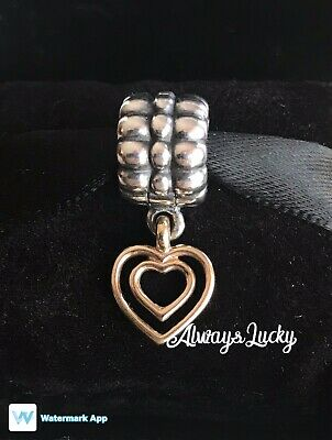 Authentic Pandora Heart Of Hearts Clip Charm Sterling Silver W/ 14K Gold Retired