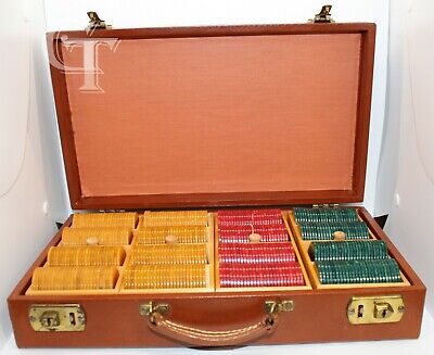 Vintage Bakelite (Catalin) Marbled Poker Chip Set 400 pcs W/Case Mint Condition