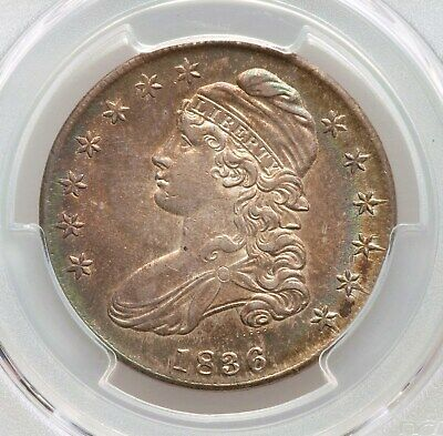 1836 Capped Bust Half Dollar PCGS AU Details Lettered Edge Toned Type Coin