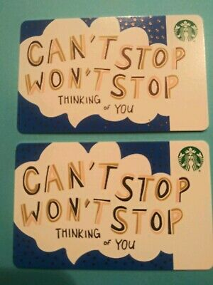 """Starbucks gift card 2019 """"CAN'T STOP WON'T STOP"""" 2 Cards. No Value"""