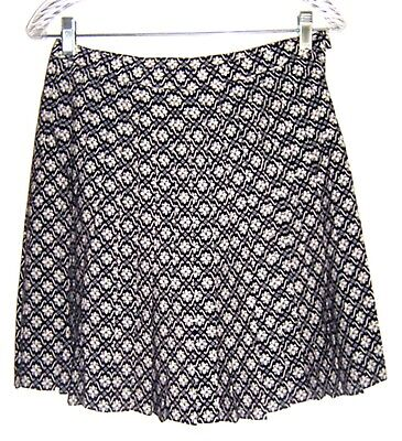 Compagnie Int Black & White Geo Floral Pleated A-Line Skater Skirt Sz 9/10