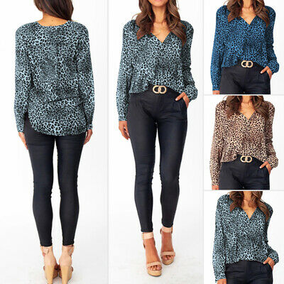 Women Long Sleeve Leopard Stripe T-Shirt Casual Loose Solid Tunic Top Plus Size