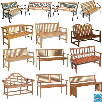 Classic Garden Bench 2/3 Seater Chair Wooden Stool Patio Park Outdoor Furniture