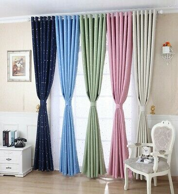 1 Pair Star Thermal Blackout Curtains Ready Made Eyelet Curtains With Tie Backs