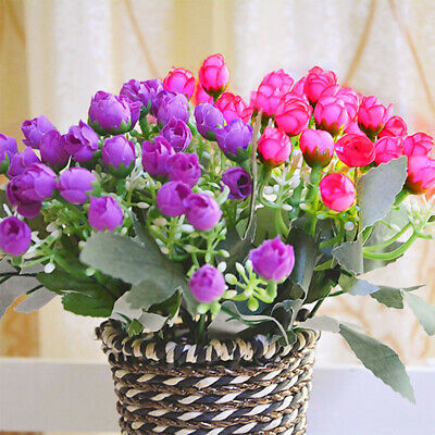 36HEADS ARTIFICIAL SILK FLOWERS BUNCH Wedding Home Grave Outdoor Bouquet UKK