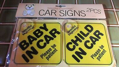 Pack of 2 Car Window Stickers - BABY IN CAR and CHILD IN CAR New in packet