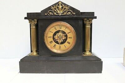 Antique French 8 Day Architectural Marble Mantel Clock W/ Brass Columns - 223