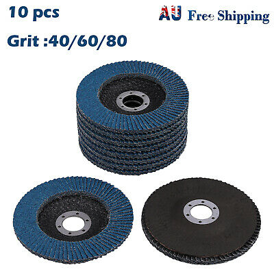 "10X 5"" 125mm Zirconia Flap Discs Wheels Angle Grinder High Density 40/60/80 Grit"