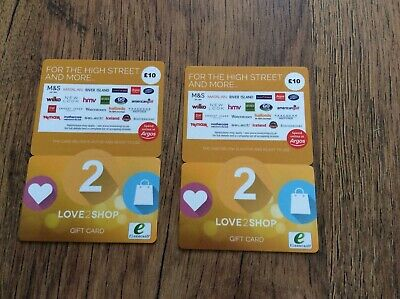 love to shop gift cards  x 2 NEW