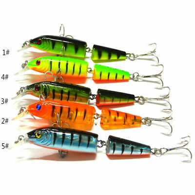 5pcs Multi-Jointed Fishing Lures Swimbait Minnow Bait Crank Baits Hook Tackle