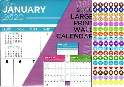 Large Print - 12 Month 2020 Wall Calendar - with 100 Reminder Stickers