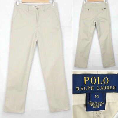 Boys POLO RALPH LAUREN Chino Trousers Age 14 Years In Beige Zip Fly Straight Leg