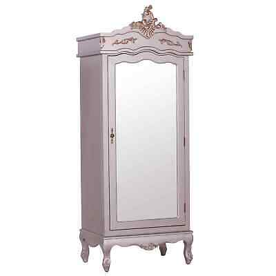 French Silver Single Door Armoire With Mirrored Door