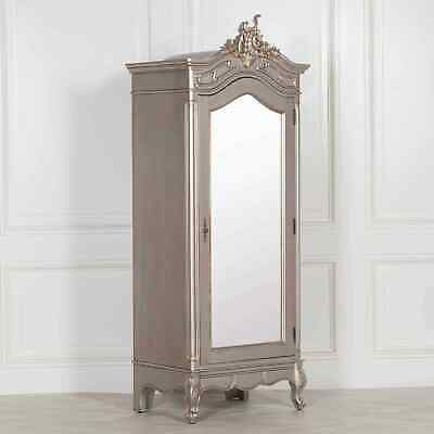 French Style Silver Carved Single Full Mirrored Armoire