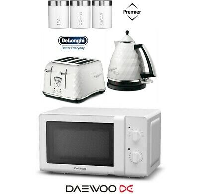 Delonghi Brillante Kettle and Toaster with Daewoo Microwave & Canisters - White