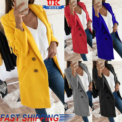 Women's Button Lapel Wool Jackets Overcoat Outwear Ladies Winter Wool Long Coat