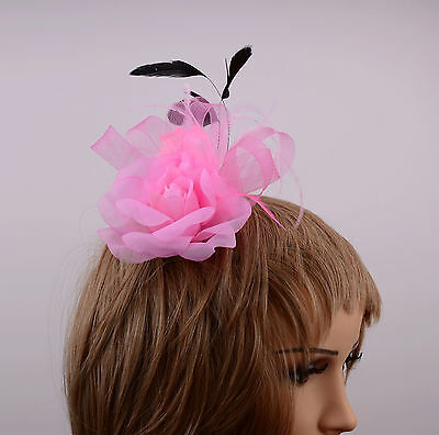 Pink Net Ribbon and Feather Fascinator on Clip Wedding Races New UK Free Post