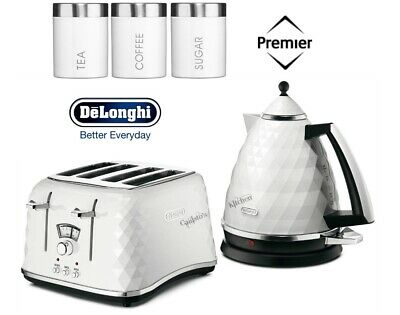 Delonghi Brillante Kettle and Toaster Set with White 3-Piece Canisters - New