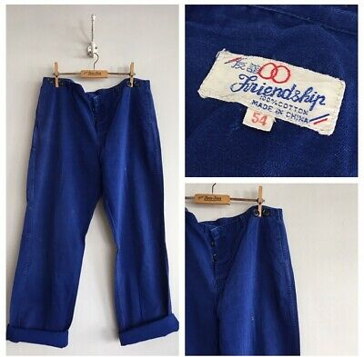 "True Vintage Blue Chinese Cotton Chore Workwear Trousers Pants W36"" L"