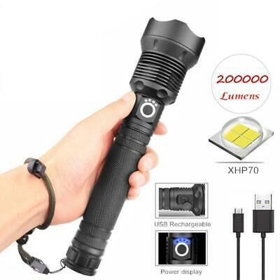 200000LM Xhp70 T6 LED USB Rechargeable 18650 26650 Zoomable Torch Flashlight