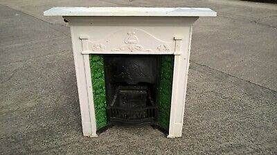 Antique Art Nouveau Cast Iron Tiled Combination All In One Fireplace