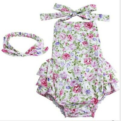 Floral Toddler Kids Baby Girl Summer Swim Dress Outfit 1pc with Headband