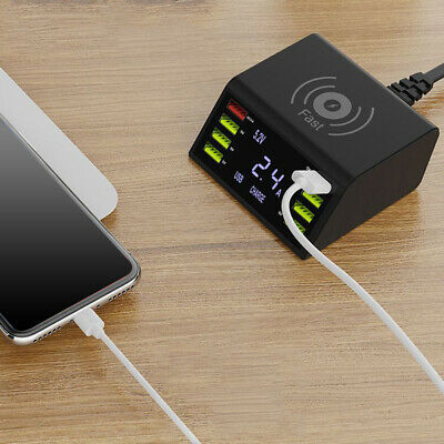 8 Ports Quick Charge USB Charger QC 3.0 Smart Power Adapter Station LCD Display