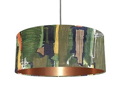*6 Brushed linings* Mid century 50's green Abstract MCM fabric Lampshade