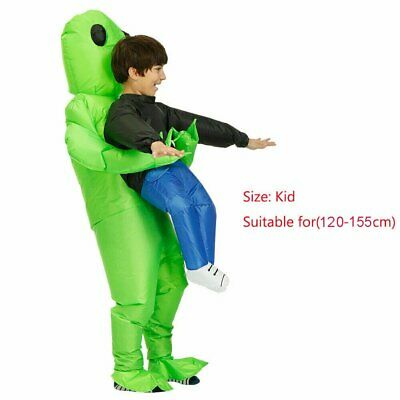 Child Inflatable Monster Costume Green Alien Carrying Human Cosplay Halloween