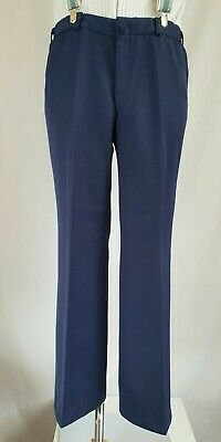 Vtg 1970s Blue Midweight PolyWool Flared Trousers Disco Psych W34 L30 KG73