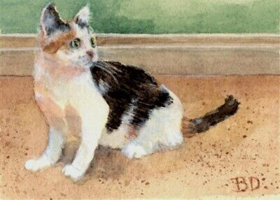 "Original ACEO 3.5"" x 2.5"" Cat Calico Kitty Watercolor Colored Pencil by BDonati"