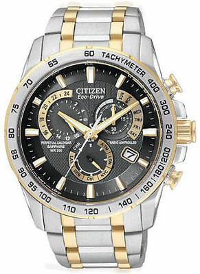 Citizen Eco-Drive AT4004-52E Mens Black Dial Chronograph Two-Tone Calendar Watch