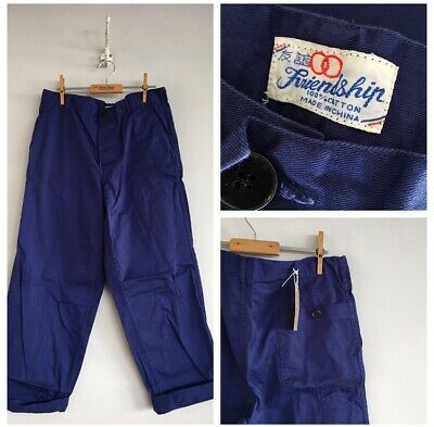 "True Vintage Blue Chinese Cotton Chore Workwear Trousers Pants W34"" M"