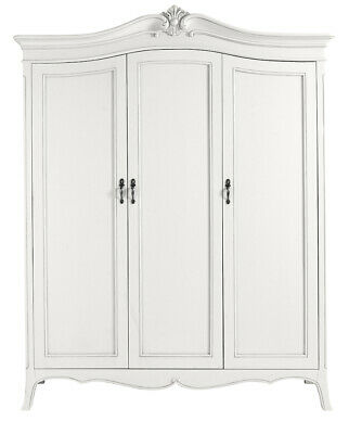Ava Antique White French Style 3 Door Mirrored Wardrobe