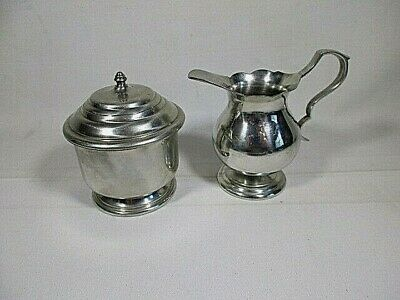 Williamsburg Stieff Pewter Sugar Bowl & Creamer