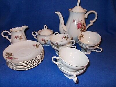 Moss Rose 17-pc. coffee/tea set w/teapot & lid, creamer, covered sugar