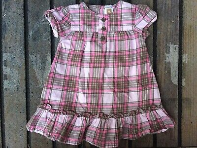 Carters Baby Girls Pink Brown Short Sleeve Dress Size 6 Months Botton Front