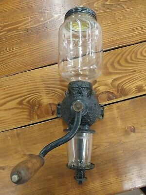 Vintage Arcade Crystal Coffee Grinder Wall Mount Hand Crank Antique Glass