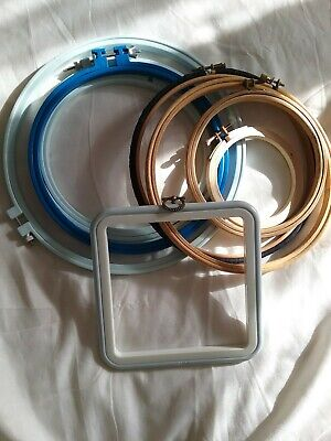 Joblot of 9 Embroidery Frames/ hoops (wooden and plastic)