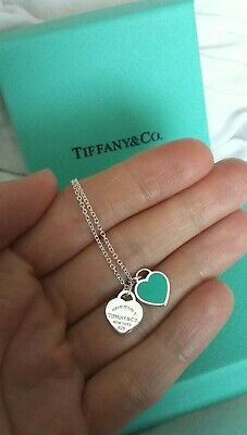 Tiffany and co. Heart double mini tag Necklace sterling silver 925 New Condition