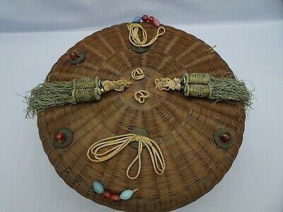 "Large 11"" Diameter ANTIQUE GLASS BEADS TASSELS Chinese Asian Sewing Basket"
