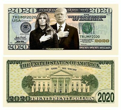 Pack of 5 - Donald and Melania Trump 2020 Re-Election Presidential Dollar Bil...