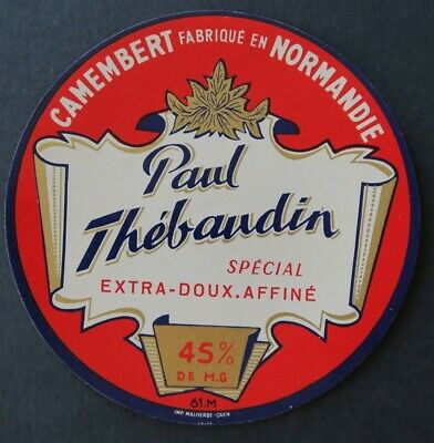 Etiquette fromage CAMEMBERT PAUL THEBAUDIN Normandie cheese label 16